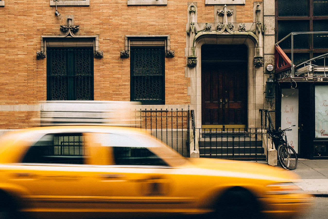 Yellow Cab long exposure new york