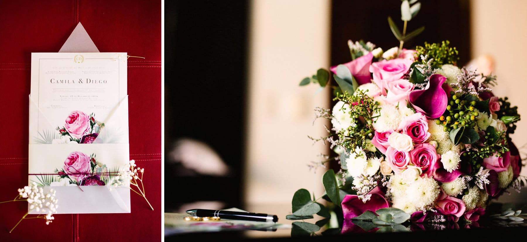 convite de casamento e buque lindo
